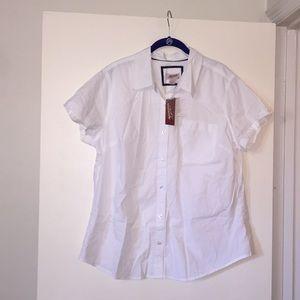NEW! Arizona Jeans White Button-down Pocket Shirt